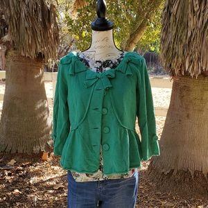 Green Bow Trim Sweater